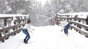 Pares de la diversión del invierno juguetones junto durante vacaciones de las vacaciones de invierno afuera en bosque de la nieve almacen de metraje de vídeo