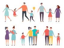 Pares de la familia Varón homosexual de los pares de la familia no tradicional, femenino stock de ilustración