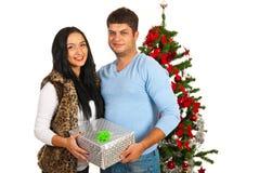 Pares de la feliz Navidad Imagen de archivo libre de regalías