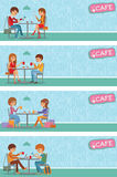 Pares de la gente en café Vector el ejemplo con los hombres y las mujeres de los amigos que se sientan en las tablas Imagenes de archivo