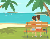 Pares de la luna de miel al aire libre en la playa ilustración del vector