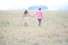 Pares de la mano de la explotación agrícola del hombre y de la mujer en campo de hierba Imagenes de archivo