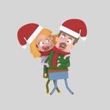Pares de la Navidad 3d Imágenes de archivo libres de regalías