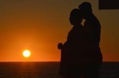 Pares de la puesta del sol Imágenes de archivo libres de regalías