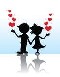 Pares de la silueta de la tarjeta del día de San Valentín Fotos de archivo