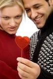 Pares de la tarjeta del día de San Valentín Imágenes de archivo libres de regalías