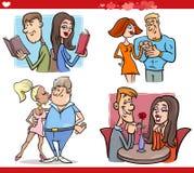 Pares de la tarjeta del día de San Valentín en sistema de la historieta del amor Fotografía de archivo libre de regalías