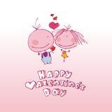 Pares de la tarjeta del día de San Valentín en amor. Imagenes de archivo