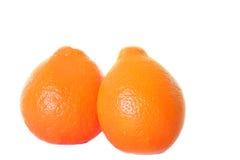 Pares de laranjas no branco isolado Fotografia de Stock