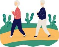 Pares de las personas mayores lindas que activan en parque ilustración del vector