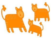 Pares de leões e de leo pequeno ilustração do vetor