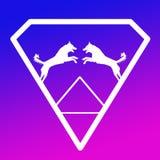 Pares de Logo Banner Image Jumping Dog en Diamond Shape en fondo púrpura azul ilustración del vector