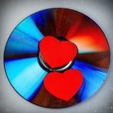 Pares de los corazones de la tarjeta del día de San Valentín Foto de archivo libre de regalías