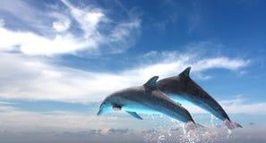 Pares de los delfínes que saltan contra el cielo azul Imagen de archivo
