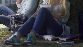 Pares de los estudiantes que hacen su preparación que se sienta al aire libre debajo del alto árbol, campus metrajes