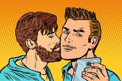 Pares de los hombres Reunión de la amistad Smartphone Selfie stock de ilustración