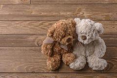 Pares de los osos de peluche de la felpa imagenes de archivo