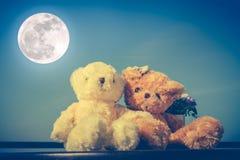 Pares de los osos de peluche del concepto con amor y relación para valent foto de archivo libre de regalías