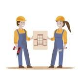 Pares de los trabajadores de construcción Fotografía de archivo