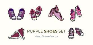 Pares de los zapatos de las zapatillas de deporte aislados Sistema exhausto del ejemplo del vector de la mano de zapatos rosados  stock de ilustración