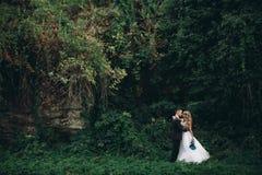Pares de lujo de la boda que abrazan y que se besan en las plantas y la cueva magníficas del fondo cerca de castillo antiguo Imagen de archivo libre de regalías