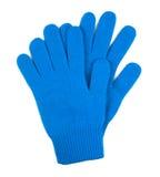 Pares de luvas de lã azuis isoladas no branco foto de stock
