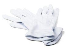Pares de luvas do branco dos mordomos Fotos de Stock Royalty Free