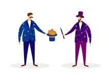 Pares de mágicos dos artistas que executam o truque mágico ilustração do vetor