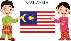 Pares de Malásia dos desenhos animados que vestem o traje tradicional ilustração do vetor