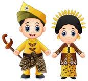 Pares de malaysia dos desenhos animados que vestem trajes tradicionais ilustração stock
