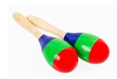 Pares de maracas de madeira coloridos Foto de Stock Royalty Free