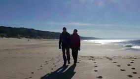 Pares de mediana edad felices que caminan en la playa almacen de metraje de vídeo