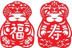 Pares de muñecas que desgastan el sombrero de la serpiente en rojo Foto de archivo libre de regalías