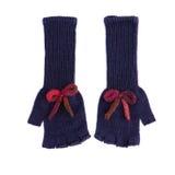 Pares de obscuridade longa - luvas de lã fingerless azuis imagem de stock royalty free