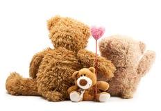 Pares de osos abrazados y del corazón del asimiento Fotografía de archivo libre de regalías