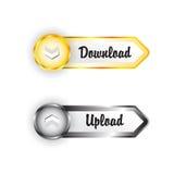 Pares de ouro brilhante e de botões de prata metálicos. ilustração stock