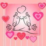 Pares de pájaros en love.romantic card.s Fotos de archivo libres de regalías