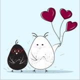 Pares de pájaros, San Valentine Card Foto de archivo libre de regalías