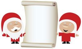 Pares de Papai Noel que prendem um rolo do papel em branco Imagens de Stock Royalty Free