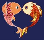 Pares de peixes do ouro isolados ilustração royalty free