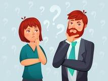 Pares de pensamiento Hombre pensativo y mujer, pregunta preocupada confusa y gente encontrando vector de la historieta de la resp stock de ilustración