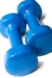 Pares de pesas de gimnasia azules Foto de archivo libre de regalías