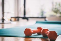 Pares de pesas de gimnasia en un piso de madera foto de archivo libre de regalías