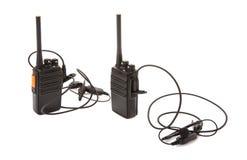 Pares de rádios da maneira do Walkietalkie 2 com auriculares fotografia de stock royalty free