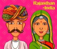 Pares de Rajasthanii no traje tradicional de Rajasthan, Índia Fotografia de Stock Royalty Free