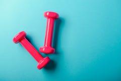 Pares de rosa pesas de gimnasia de 1 kilogramo en fondo azul Imagen de archivo libre de regalías