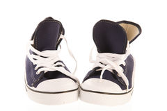 Pares de sapatas de basquetebol azuis Fotografia de Stock