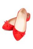 Pares de sapatas fêmeas vermelhas, close up Imagem de Stock Royalty Free