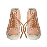 Pares de sapatos de ginástica na moda da tela isolados no fundo branco Imagens de Stock Royalty Free