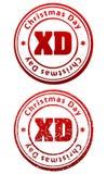 Pares de sellos de goma rojos en grunge y estilo sólido con el subtítulo ilustración del vector